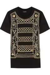Balmain Embellished Cotton Tshirt - Lyst