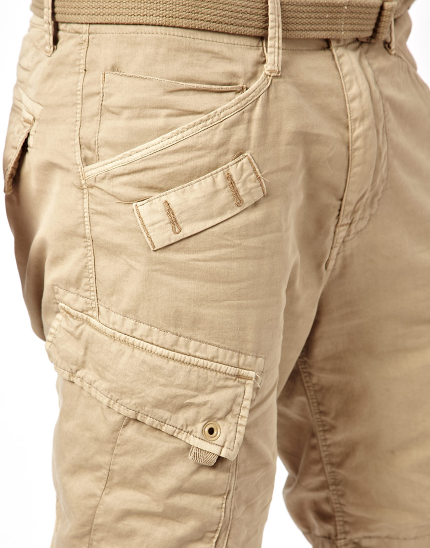 G-star raw G Star Cargo Shorts Rovic Loose with Belt in Natural ...