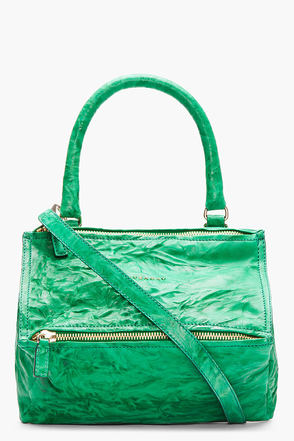 Givenchy Emerald Green Crinkled Leather Medium Pepe Pandora in ...