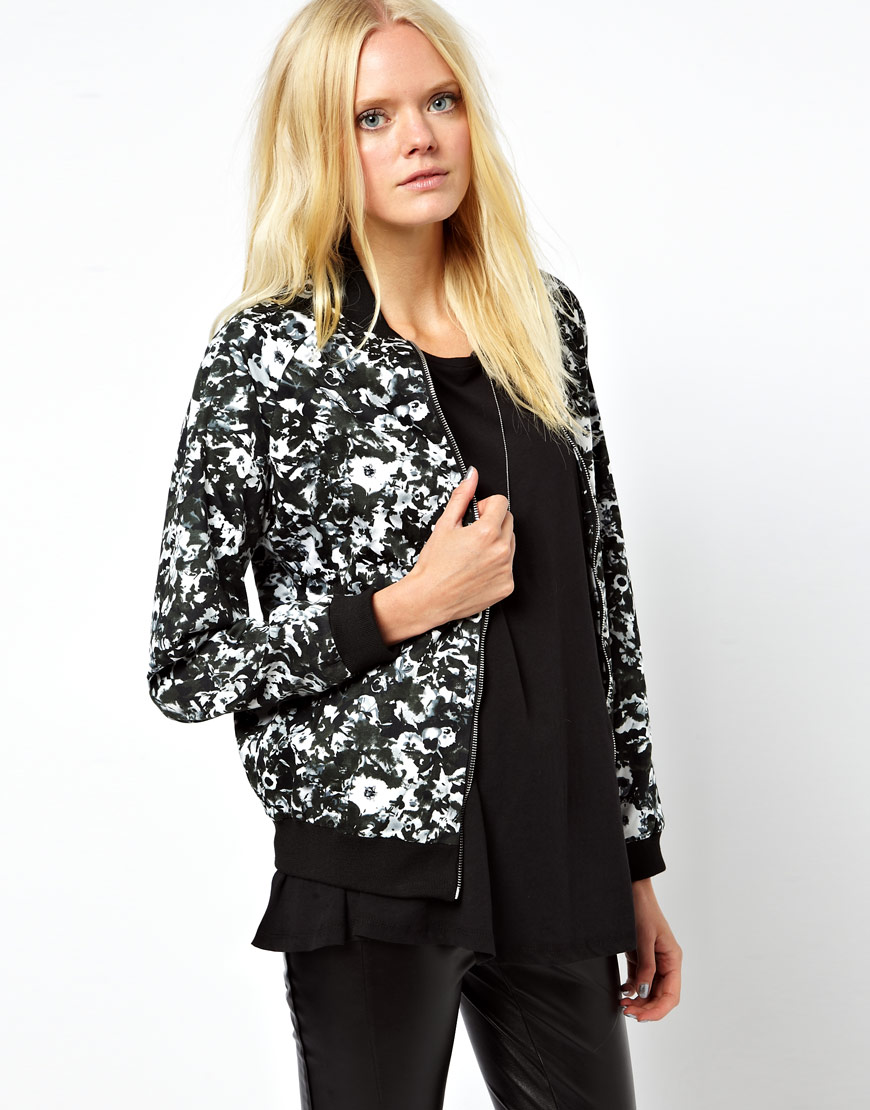 Just female Printed Bomber Jacket in White | Lyst
