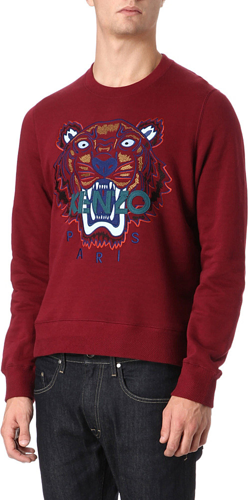 0f75797d KENZO Tiger Embroidered Sweatshirt in Red for Men - Lyst