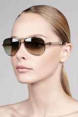 Lanvin Leatherdetail Gradient Aviator Sunglasses - Lyst