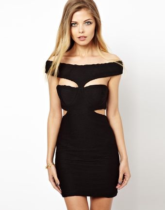 Love Textured Dress with Cut Out - Lyst