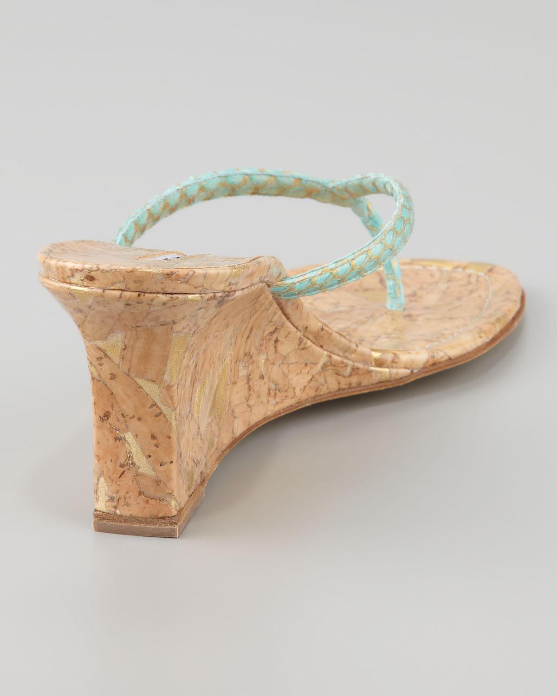 41db81f47fe4c6 Lyst - Manolo Blahnik Patwedfac Snakeskin Wedge Thong Sandal in Blue