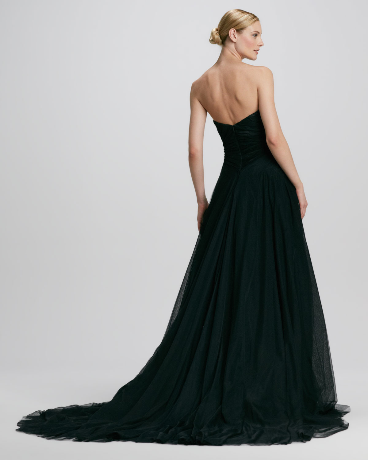 Pamella roland Strapless Embroidered Ball Gown in Black | Lyst