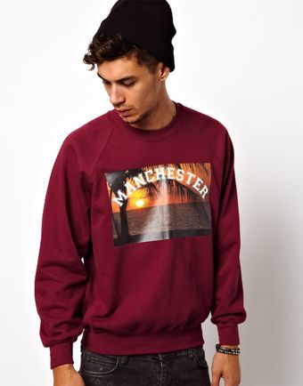Asos Reclaimed Vintage Sweat with Manchester Graphic - Lyst