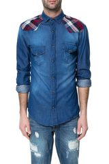 Zara Denim Shirt with Checked Yoke - Lyst