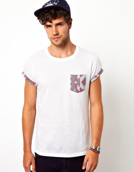 Asos Tshirt With Aztec Print Pocket And Roll Sleeve In