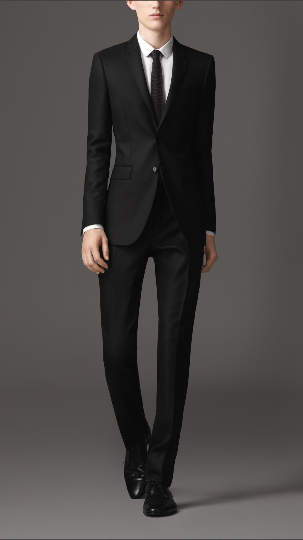 Burberry Slim Fit Hopsack Virgin Wool Suit In Black For
