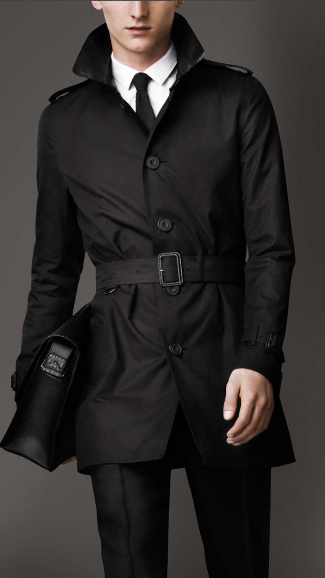 lyst burberry midlength lizard collar trench coat in. Black Bedroom Furniture Sets. Home Design Ideas