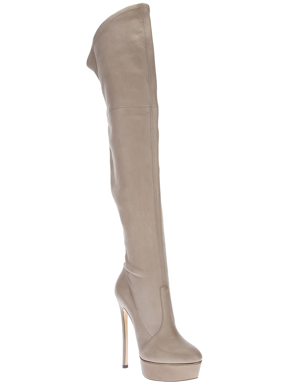 9e186635fb8 Lyst - Casadei Thigh High Stiletto Boot in Gray