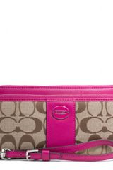 Coach Legacy Double Zip Accordion Zip Wallet in Signature Fabric - Lyst