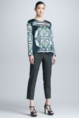 Etro Cropped Stretch Wool Pants - Lyst