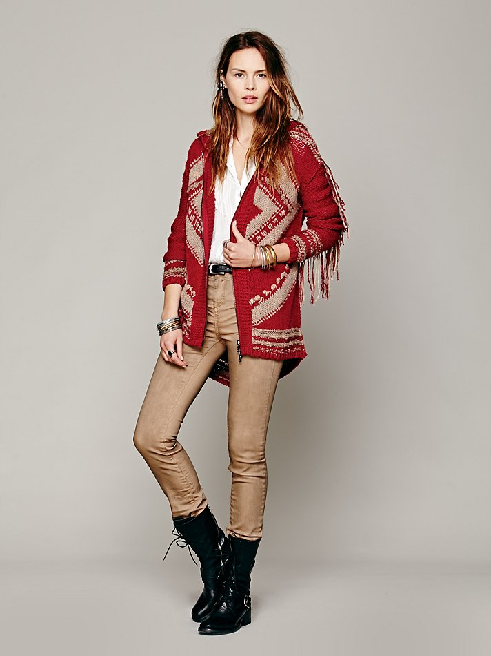 Free people Geo Fringe Hooded Cardigan in Red | Lyst