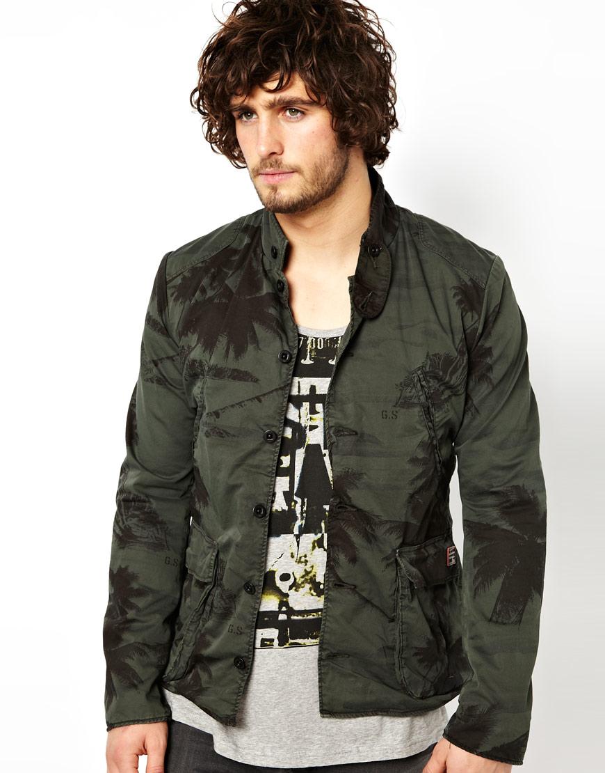 star raw g star jacket norris palm print in green for men dkcombat. Black Bedroom Furniture Sets. Home Design Ideas