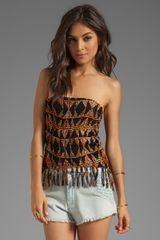 Indah Bronte Smock Fringe Mini Skirt in Black - Lyst