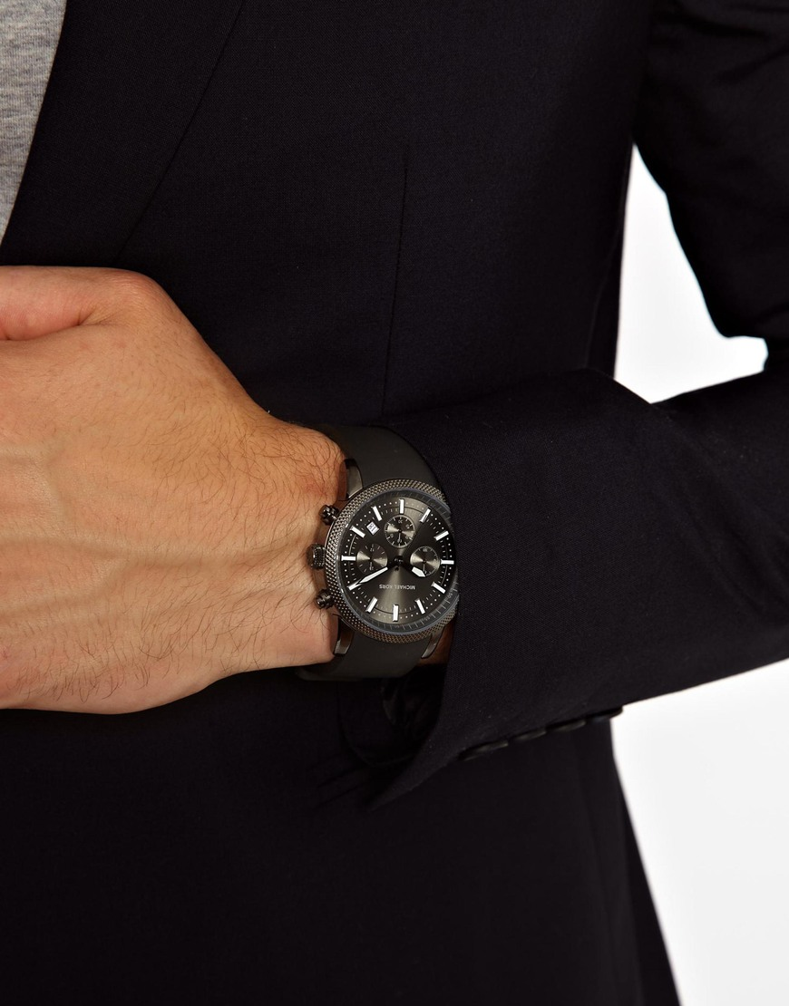 michael kors watch scout black chronograph in black for men lyst gallery men s michael kors chronograph