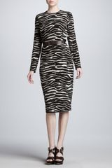 Michael Kors Zebra-print Long-sleeve Sheath Dress - Lyst