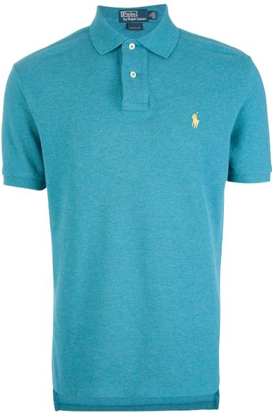 Polo ralph lauren custom fit polo shirt in blue for men for Mens teal polo shirt