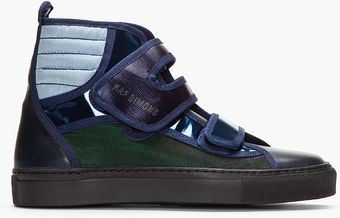 Raf Simons Blue and Green Metallic Velcro High_tops - Lyst