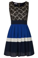 Topshop Lace Block Dress  - Lyst