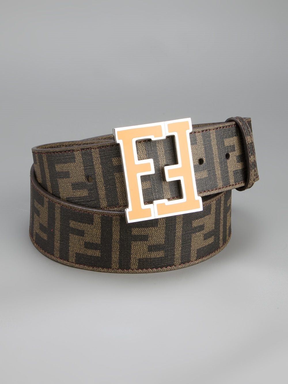 lyst fendi monogram belt in brown for men