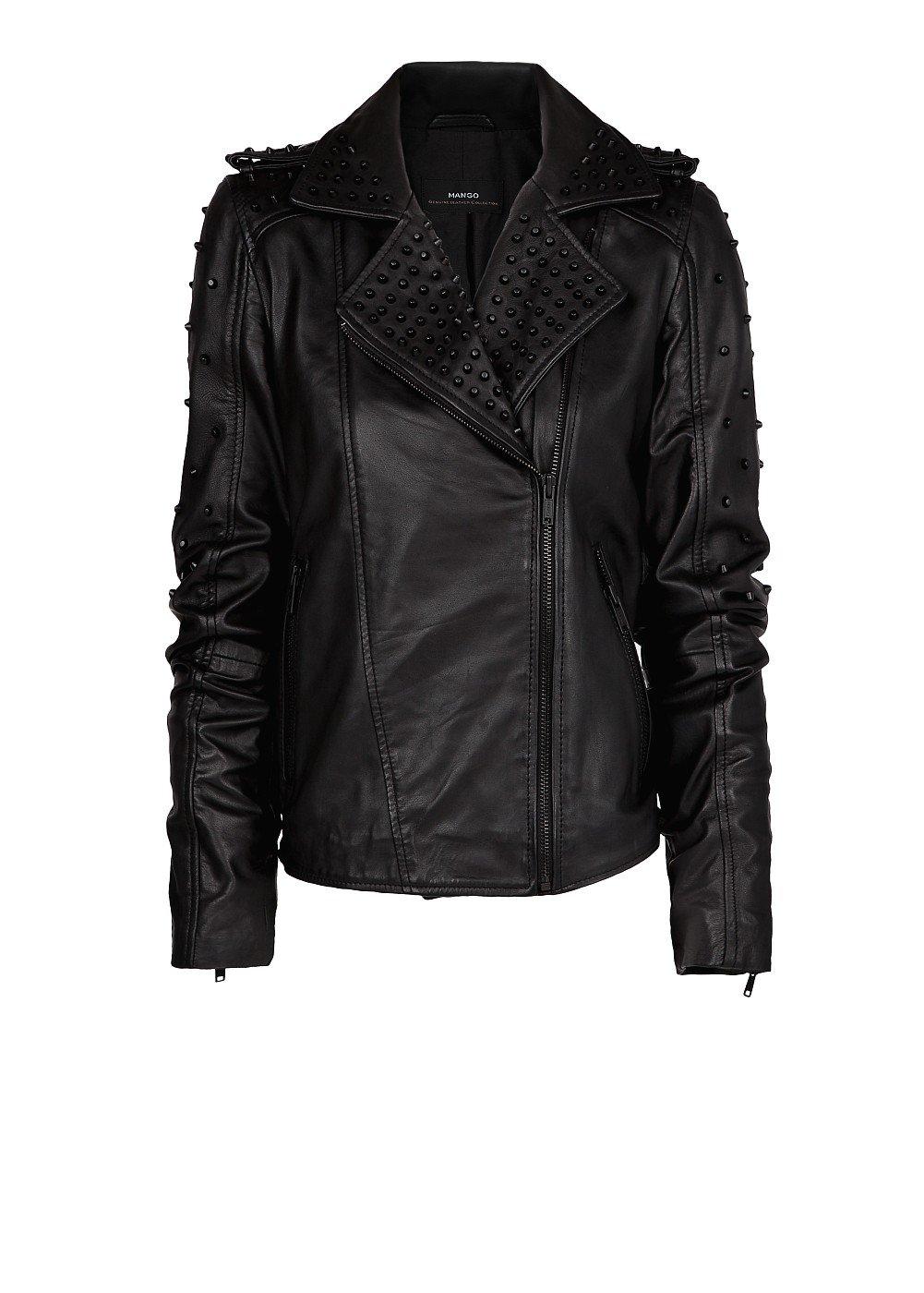 Black leather studded jacket