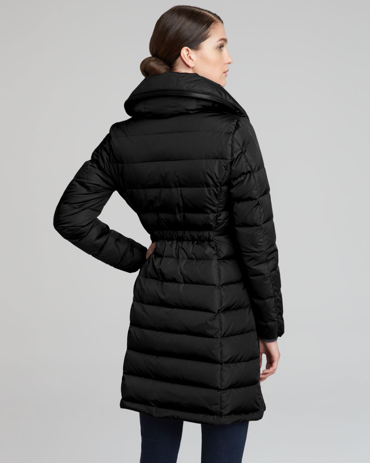 Moncler Long Puffer Coat In Black Lyst