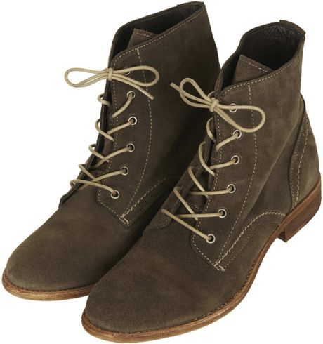 topshop alanya lace up suede boots in brown taupe lyst