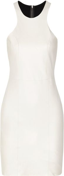 Mason By Michelle Mason Leather and Stretch knit Mini Dress in White (Ivory)