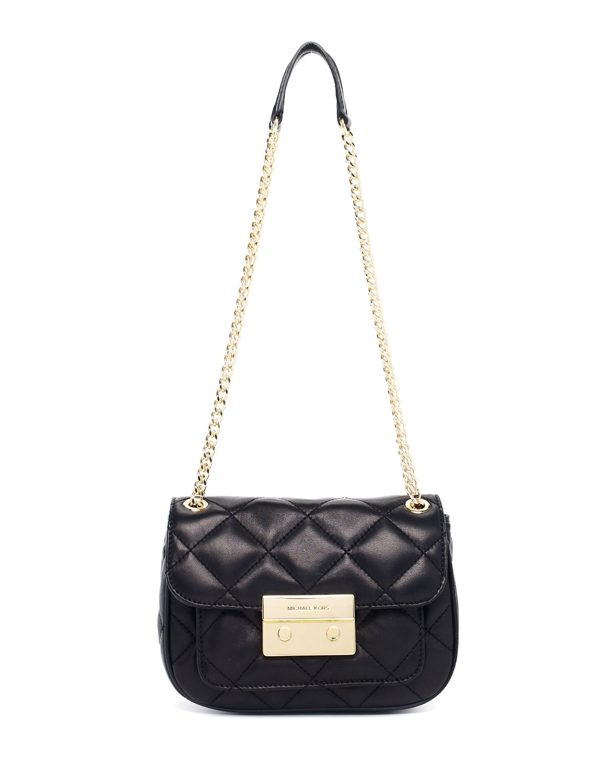 michael michael kors sloan small quilted shoulder bag in black lyst. Black Bedroom Furniture Sets. Home Design Ideas