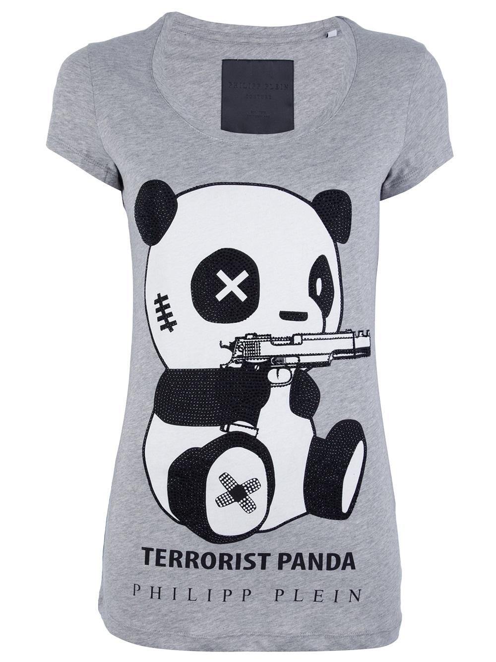 lyst philipp plein terrorist panda tshirt in black. Black Bedroom Furniture Sets. Home Design Ideas