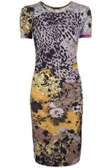Versace Multi Print Jersey Dress - Lyst