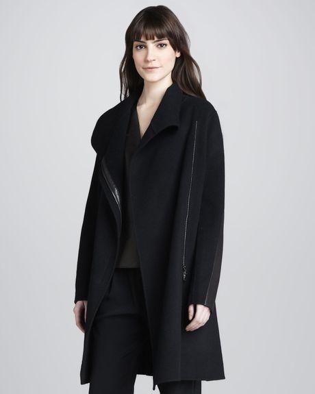 Vince Asymmetric Wool Blend Coat In Black Lyst