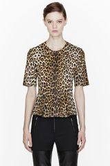 3.1 Phillip Lim Brown Leather Leopard Peplum Top - Lyst