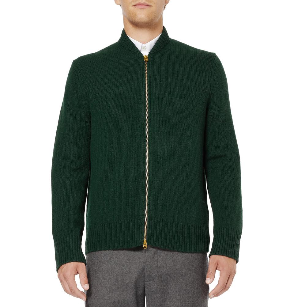 Acne studios Chet Zip Wool Cardigan in Black for Men | Lyst