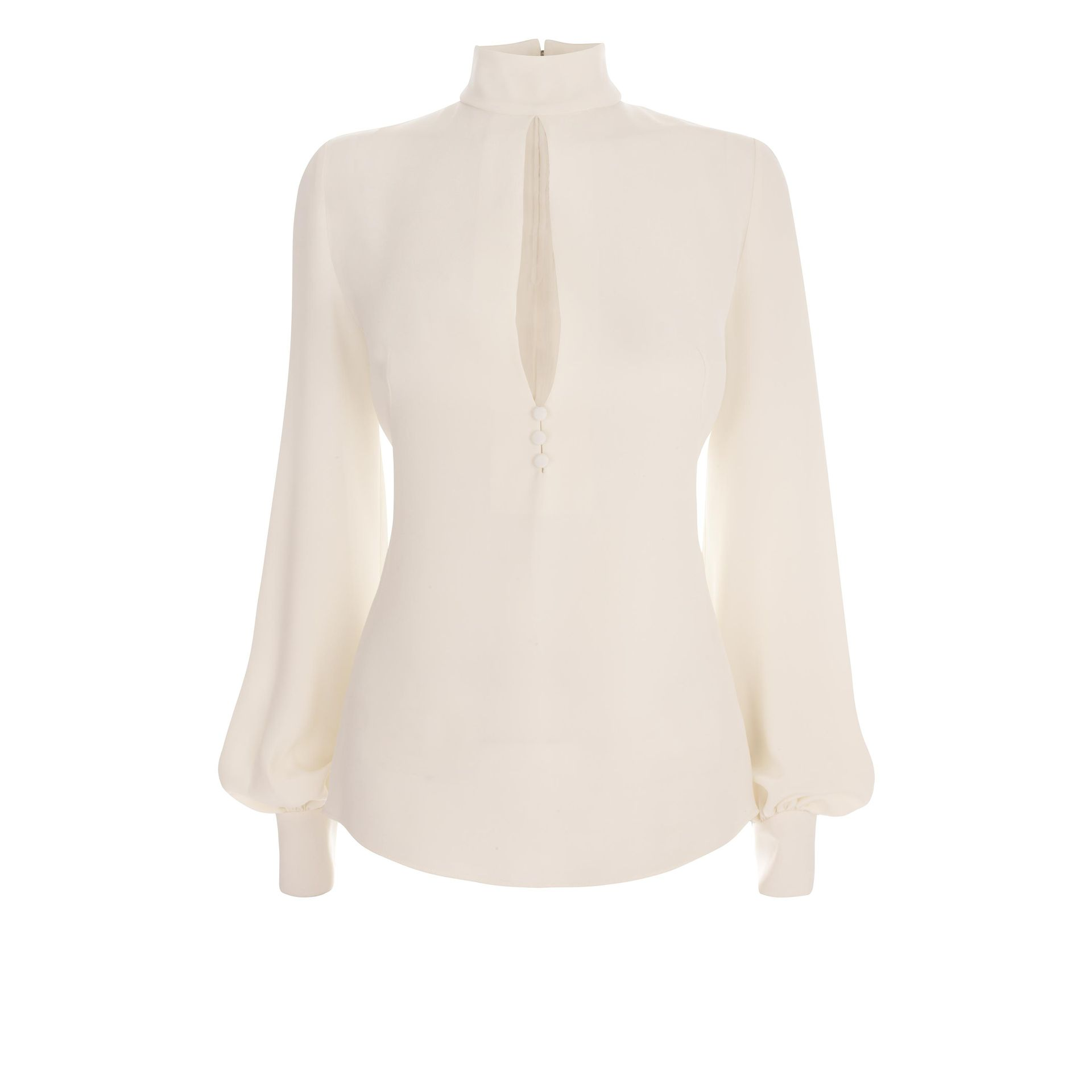 aaa0042dcd6782 Lyst - Alexander McQueen High-neck Keyhole Blouse in White