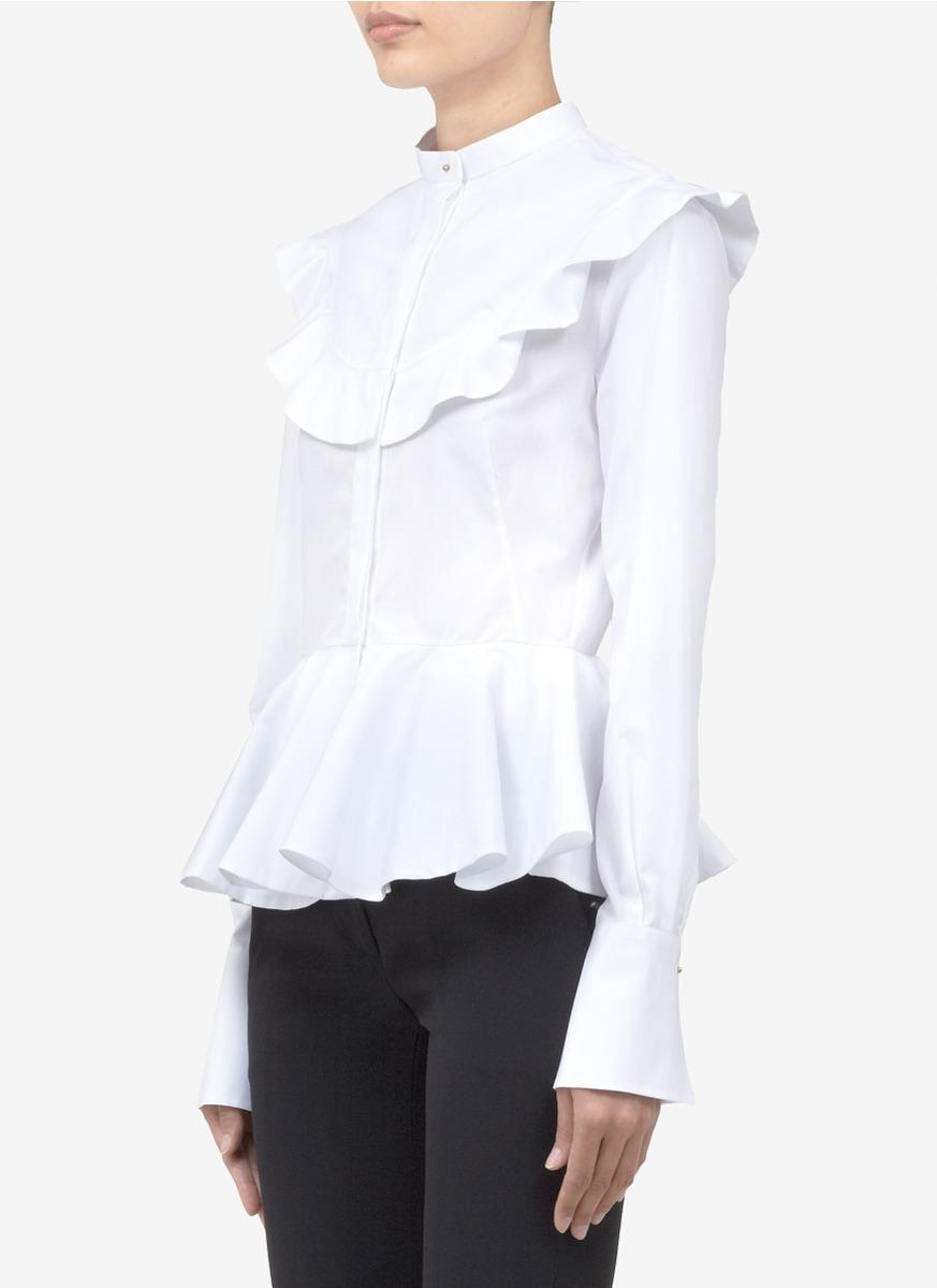 214a9e7c671 Lyst - Alexander McQueen Ruffle-bib Peplum Shirt in White
