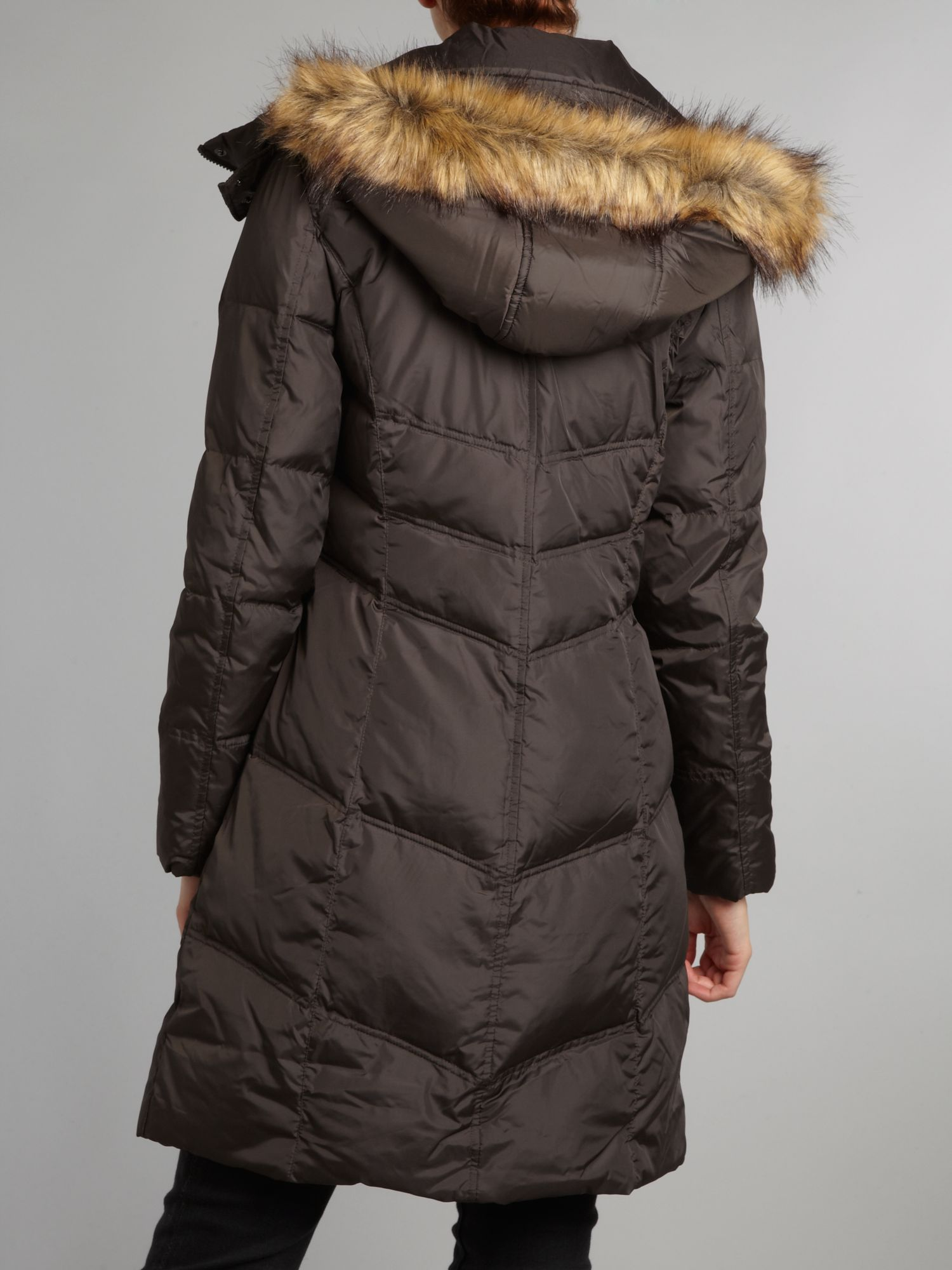 Andrew marc Padded Coat with Faux Fur Trim Hood in Brown | Lyst