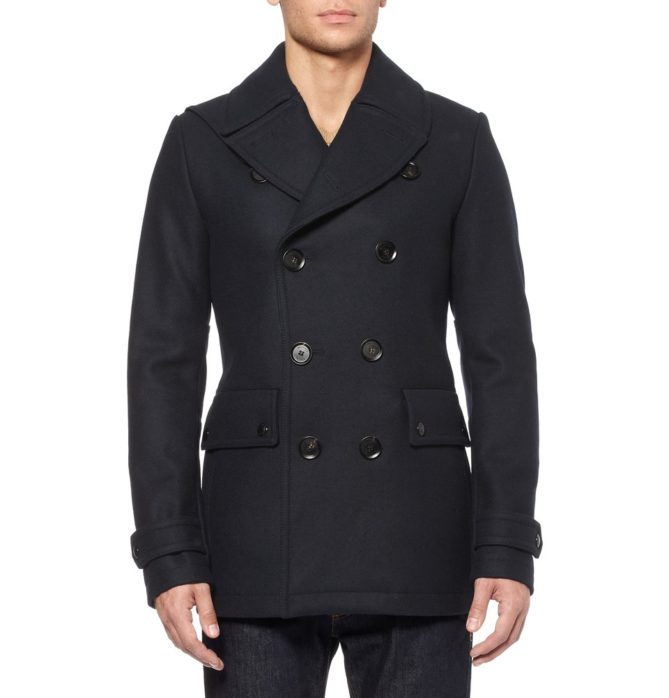 Belstaff Brentwood Slim Fit Wool Blend Peacoat In Blue For