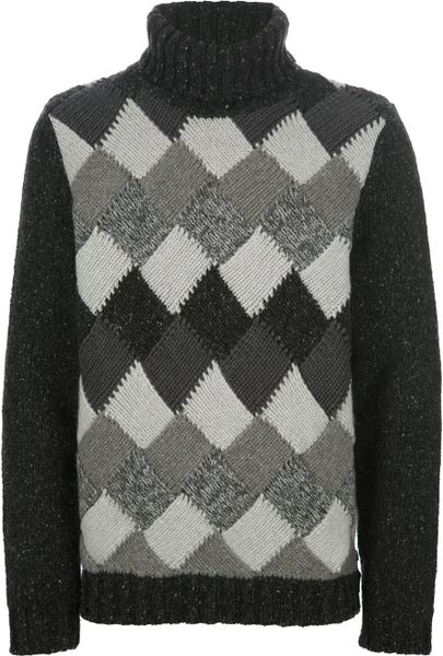 Fendi Argyle Knit Sweater in Gray for Men (grey) Lyst
