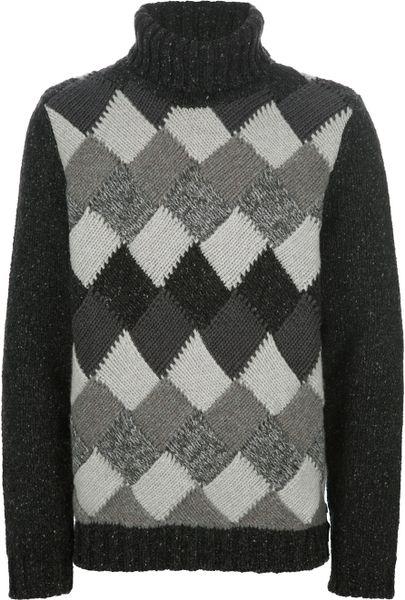 Knitting Pattern Argyle Sweater : Fendi Argyle Knit Sweater in Gray for Men (grey) Lyst
