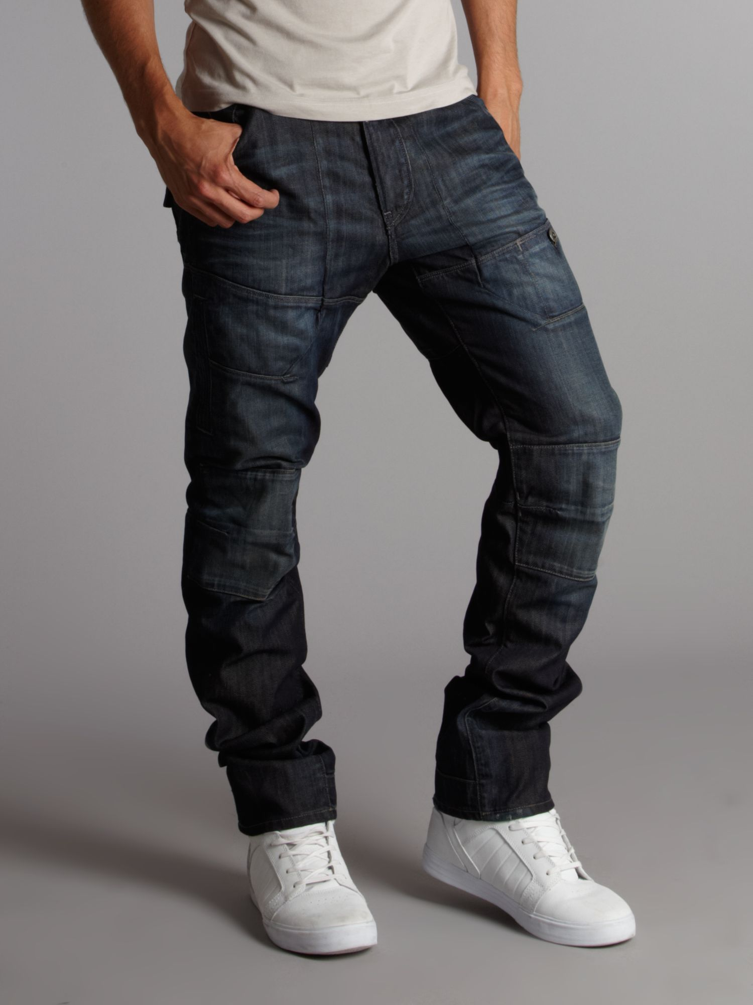 g star raw elwood slim tapered trail jeans in blue for men lyst. Black Bedroom Furniture Sets. Home Design Ideas
