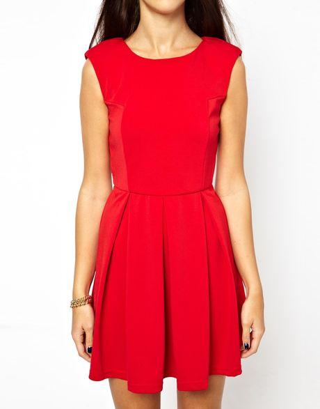 Red Open Back Skater Dress Skater Dress With Open