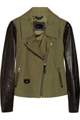 Mackage Debora Cottoncanvas and Leather Biker Jacket - Lyst