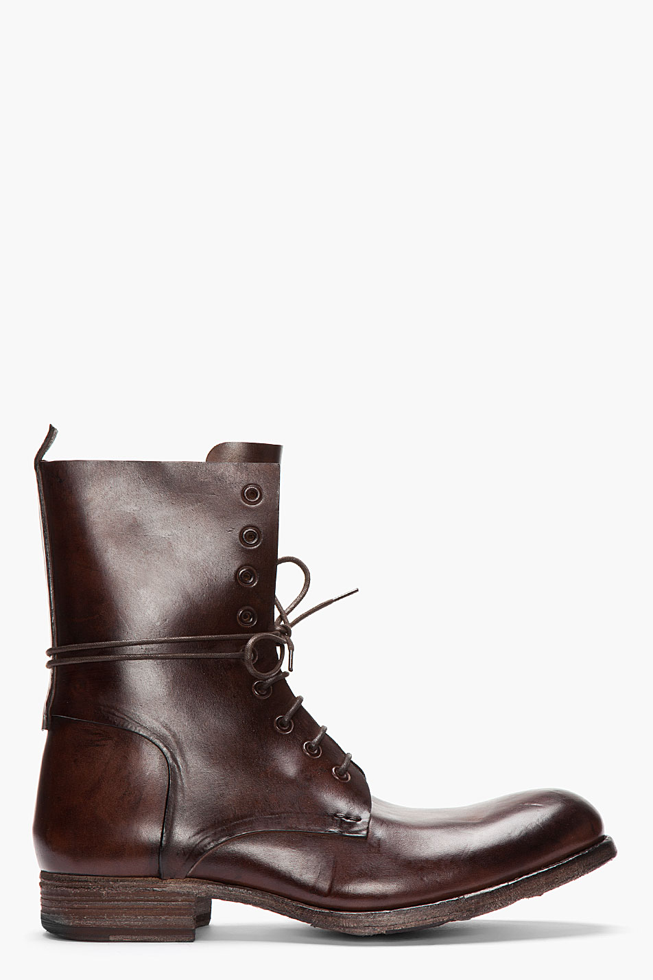 officine creative brown leather culatta lace up boots