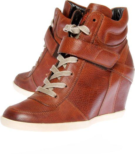 paul green penelope hitop wedge trainer shoes in brown