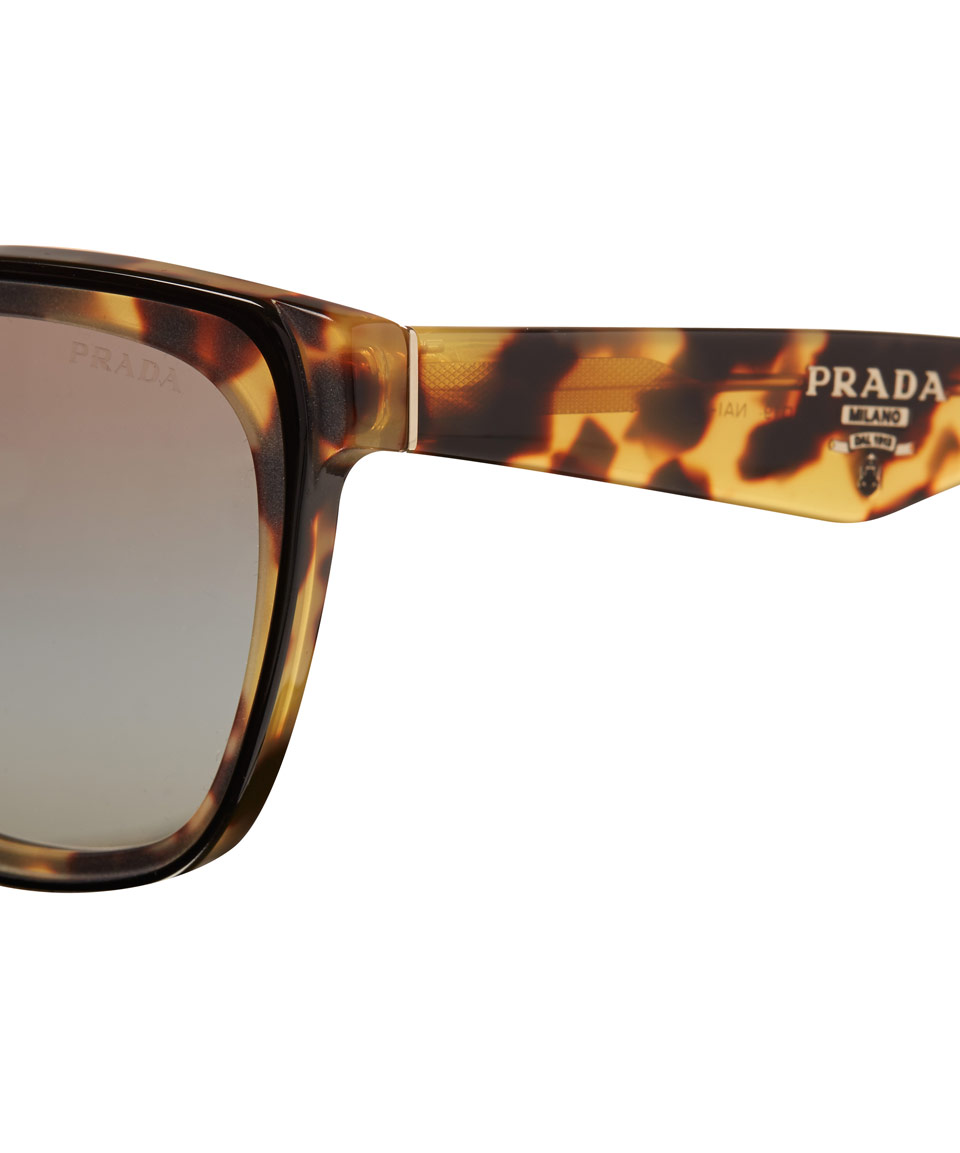 ccfcb19c3f Lyst - Prada Tortoiseshell Square Cat Eye Sunglasses in Metallic