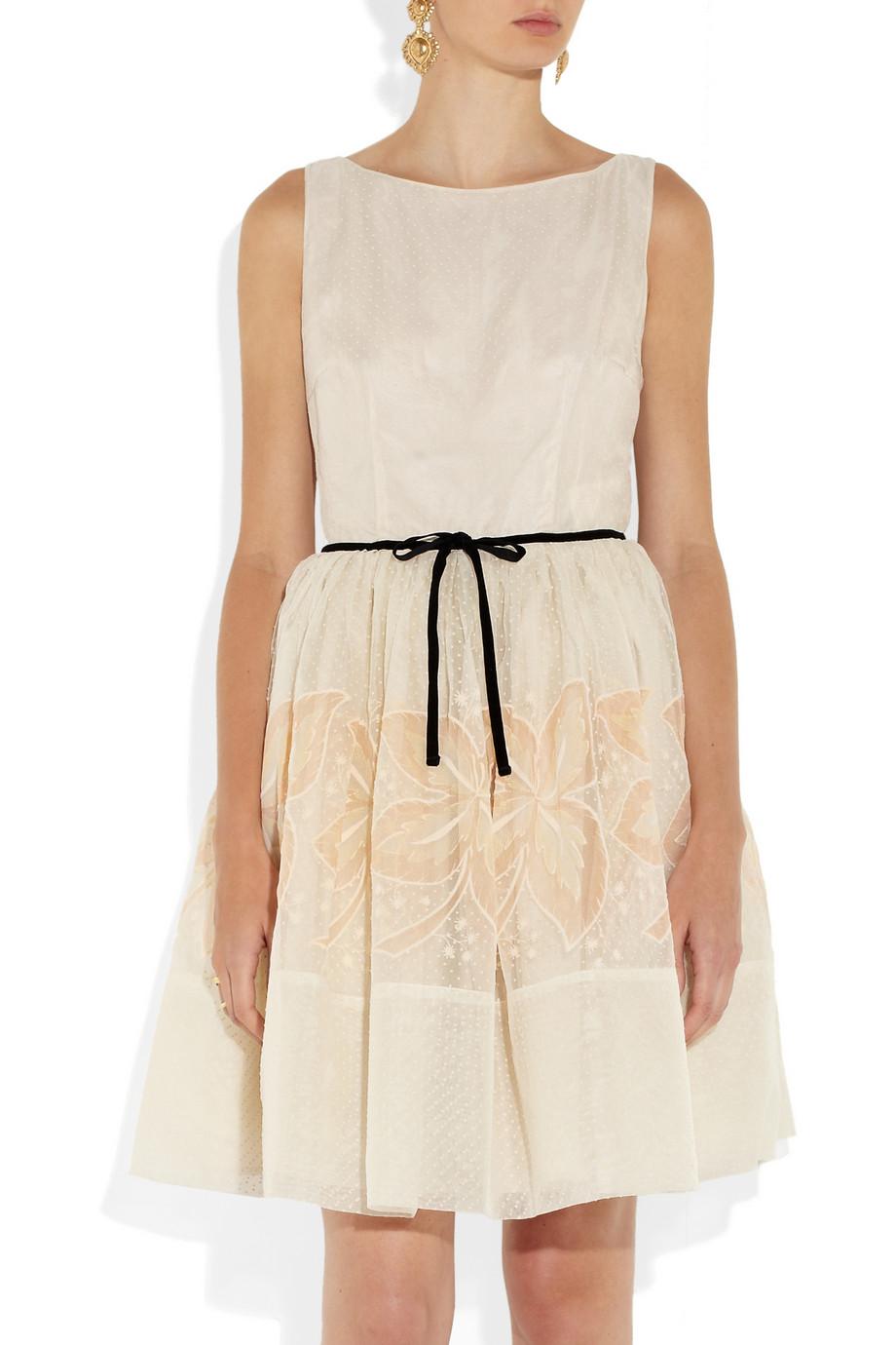 Red Valentino Embroidered Silk Mini Dress In Cream White