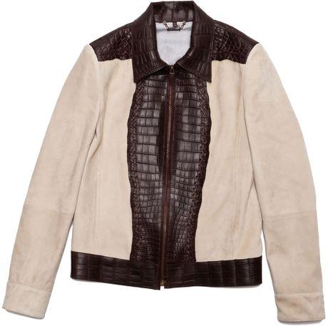 Roberto Cavalli Leather Jacket With Crocodile Trim In